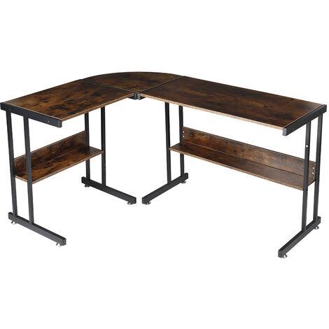 Industrial Style Corner Desk L-Shaped Computer Office Desk W/ Shelves Laptop Workstation 147*112*75cm