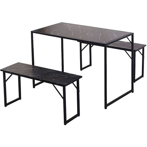 Industrial Style Dining Table Sets w/ 2X Benches Chairs