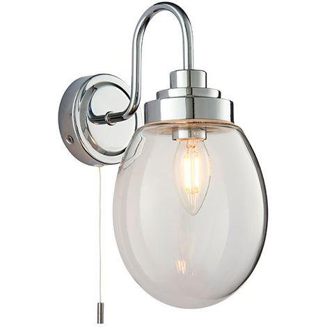 Industrial Style Hampton 1Lt Wall Light IP44 4W SW Clear Glass