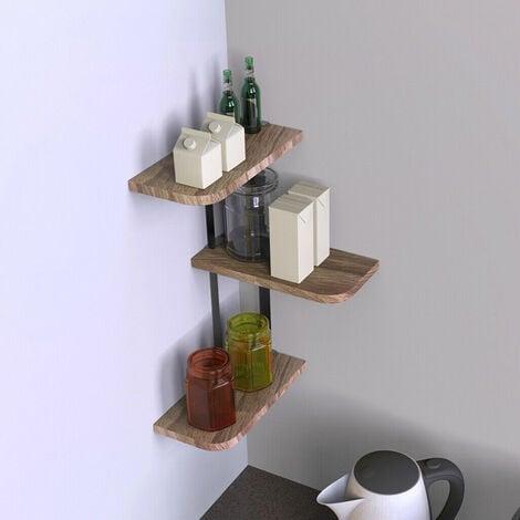 Industrial Style Metal Wood Shelving Straight Corner DIY Shelf Kitchen Bathroom