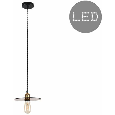 Industrial Suspended Ceiling Pendant Light with a Glass Shade - 4W LED Filament Bulb