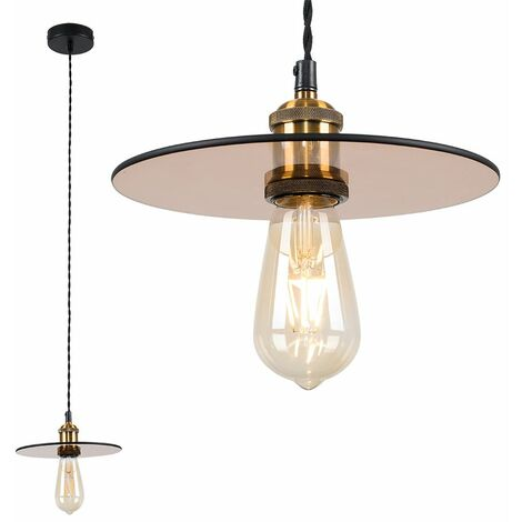Industrial Suspended Ceiling Pendant Light with a Glass Shade