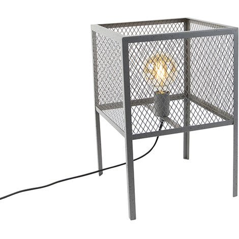 Industrial table lamp antique silver - Cage Robusto