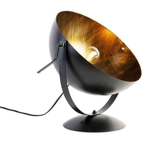 Industrial table lamp black with gold adjustable - Magna