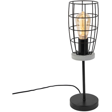 Industrial Table Lamp Concrete Grey with Black Wire Frame - Rohan