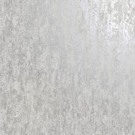 Industrial Textured Metallic Wallpaper Grey Silver Stone Concrete Holden Decor