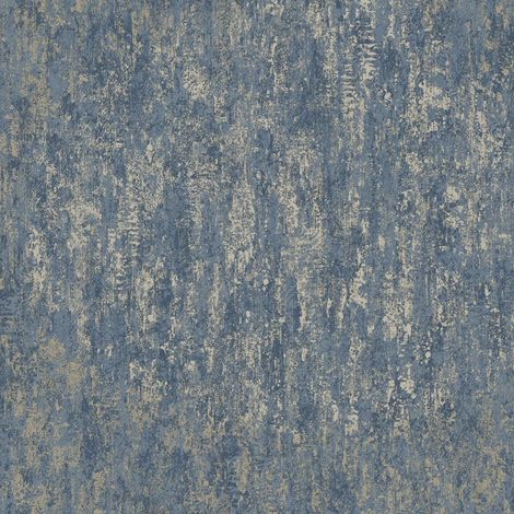 Industrial Textured Metallic Wallpaper Navy Blue Gold Stone Steel Holden Decor