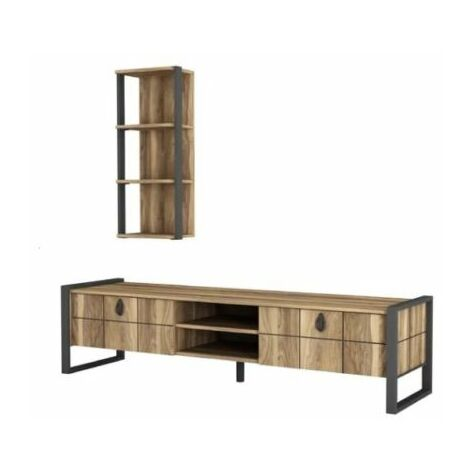 Industrial TV Stand Rustic Wood Furniture Media Storage Cabinet Vintage Style