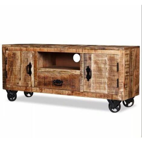 Industrial TV Stand Vintage Rustic Furniture Solid Wood Sideboard Large Cabinet
