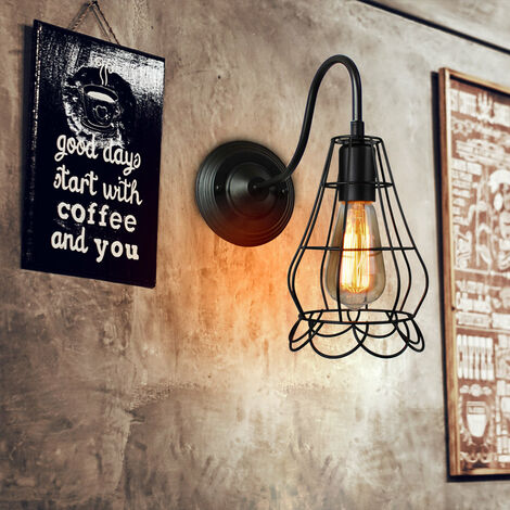Industrial Vintage Ceiling Light Retro Pendant Lighting Diamond Hanging Ceiling Light Fixture Metal Cage Lamp Shade for Indoor Black