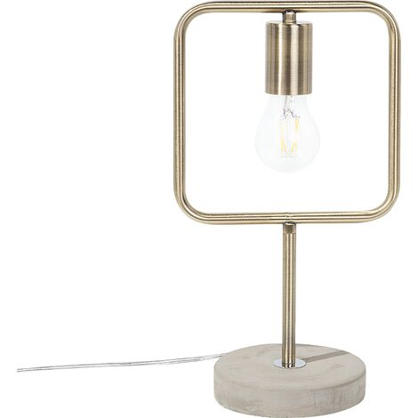 """main image of """"Industrial Vintage Cement Table Lamp Accent Geometrical Metal Brass Mundo"""""""