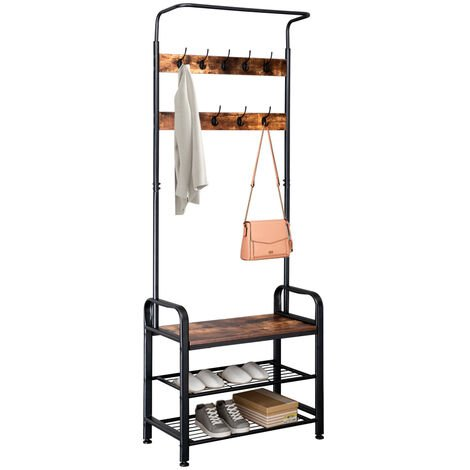 Industrial Vintage Coat Rack Shoe Bench, Hall Tree Entryway Storage Shelf, 3 in 1 Design