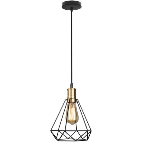 Industrial Vintage Pendant Light Modern Diamond Chandelier Rustic Metal Cage Lamp for Loft Cafe Dining Indoor Decoration Black E27