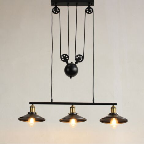 Industrial Vintage Pendant Light Retro Pulley Pendant Lamp Rise and Fall Hanging Light E27 Height Adjustable Black Chandelier Metal Lampshade for Kitchen Bar Hallway Dining Room