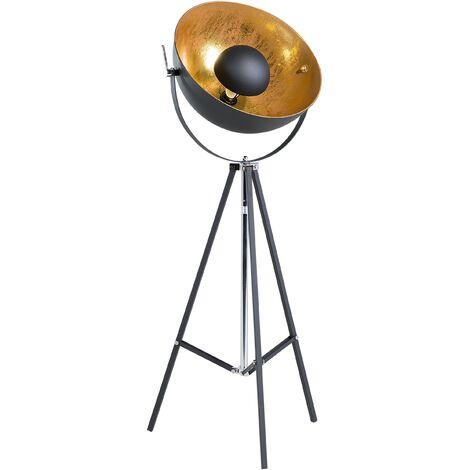 Industrial Vintage Tripod Floor Lamp Spotlight Studio Light Metal Black Thames II