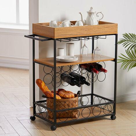 Industrial Vintage Wood Metal 3 Tier Drinks Wine Rack Kitchen Serving Trolley