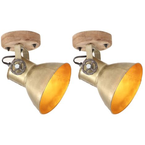 Industrial Wall/Ceiling Lamps 2 pcs Brass 20x25 cm E27