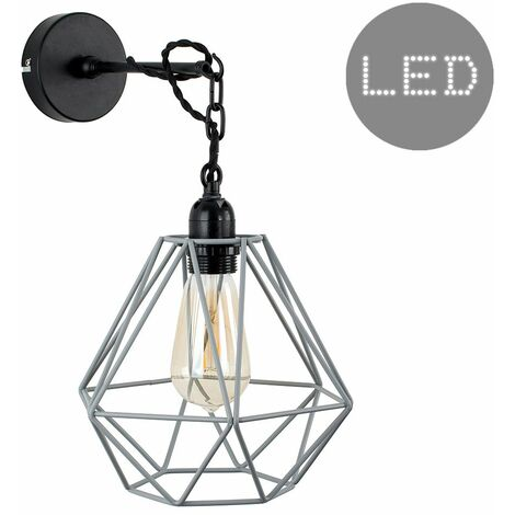 Industrial Wall / Ceiling Light - 4W LED Filament Bulb - Gold - Black