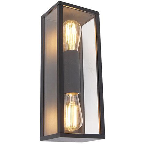 Industrial wall lamp black 38 cm 2-light IP44 - Charlois