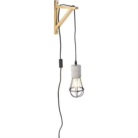 Industrial Wall Lamp Concrete with Black Frame Shade - Edison