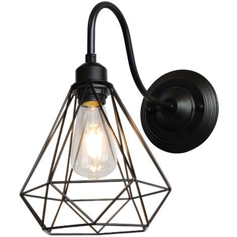 Industrial Wall Lamp Vintage Cage Lamp Retro Diamond Pendant Light for Café Loft Kitchen Living Room and Hotel Office(Black)