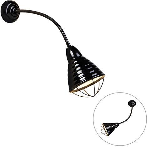 Industrial Wall Lamp with Flexible Arm Black - Manhattan