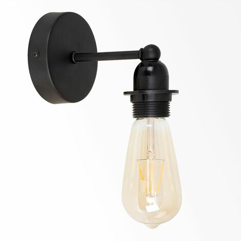 Industrial Wall Light Black Metal Pipeline
