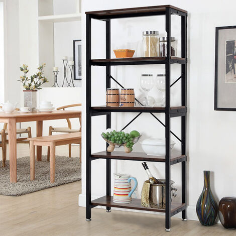 Industrial Wood Bookcase Bookshelf Book Shelving Storage Display Rack Organiser