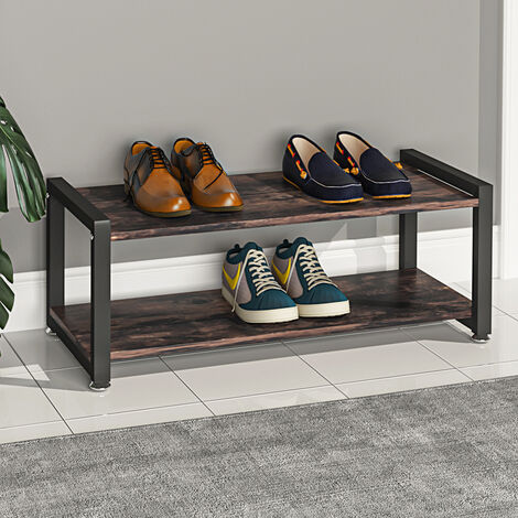 """main image of """"Industrial Wooden Shoe Bench 2-Tier Shoes Storage Rack Seat TV Stand Table Shelf"""""""