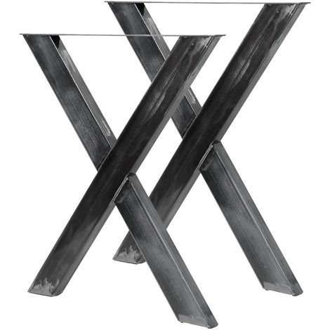 Industrial X Shape Table Legs Clear Varnish 72cmx60 for Tables Benches and Desks
