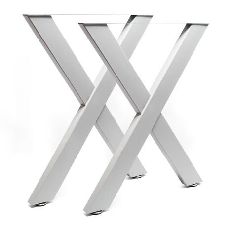 Industrial X Shape Table Legs Powder-coated Grey 72cmx60 for Tables Benches and Desks