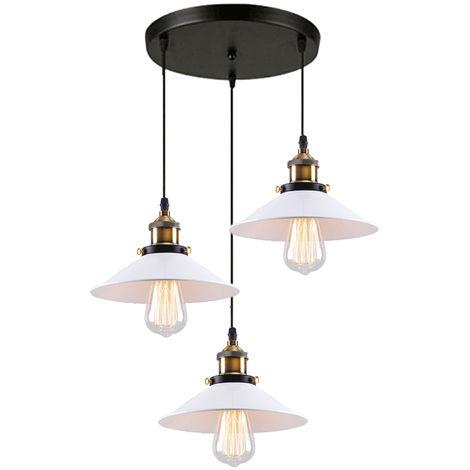 Industriales Lámpara de araña Iluminación de Techo Retro de 220mm,3 E27 Vintage Lámpara Edison Colgante de Luz Para restaurante dormitorio sala de estar,Blanco