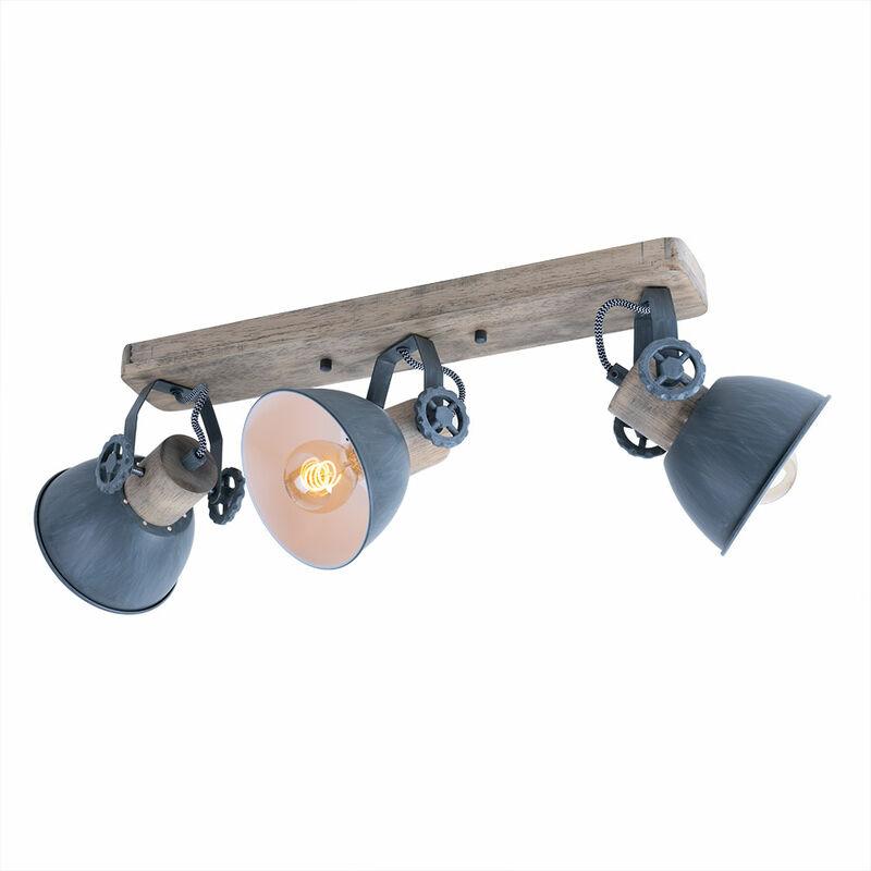 Holz Decken Strahler bewegliche Spots Grau Leuchte Wohn Zimmer Lampe Beleuchtung 2133GR