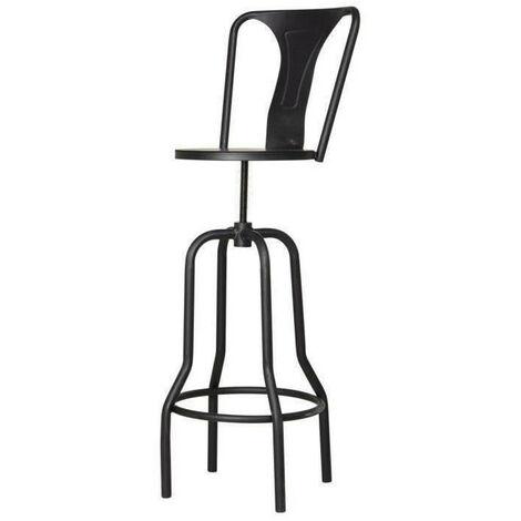 INDUSTRIE Tabouret de bar en métal noir - Style industriel - L39 x P39 cm