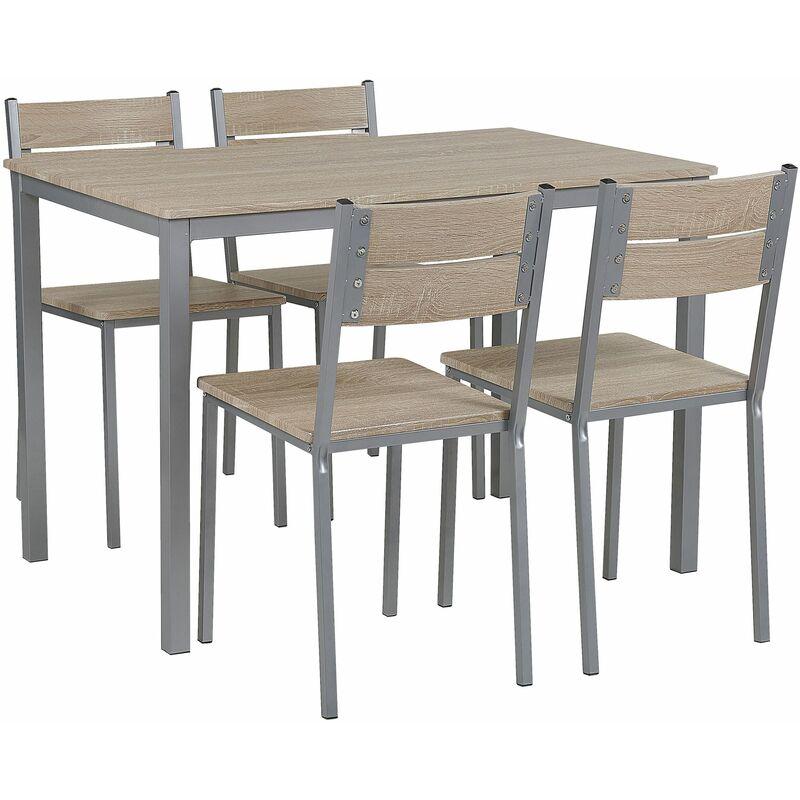 Essgruppe Grau/Braun Stahl und MDF-Platte in Holzoptik rechteckiger Tisch mit 4 Stühlen Moderner Industrieller Stil Wohnzimmer Wohnküche - BELIANI