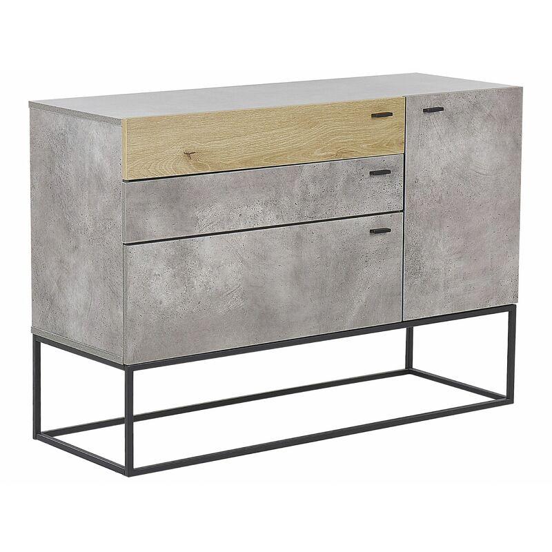 Beliani - Kommode Grau Betonoptik Faserplatte MDF 79 x 115 x 41 cm mit 3 Schubladen und Schranktür Metallbeine Rustikal Alle Wohnbereiche