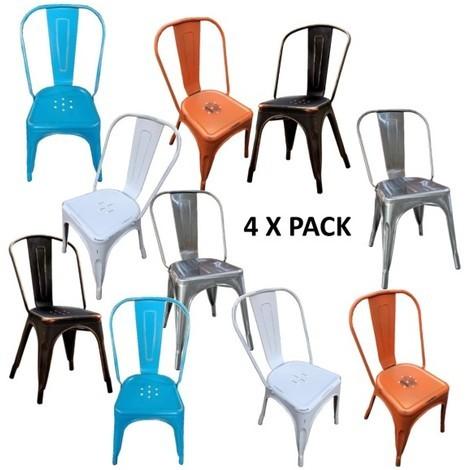 N° Metall Bistro Multicolor Industriellen Küche Design Stil 4 Stuhl Kcu5T13JFl