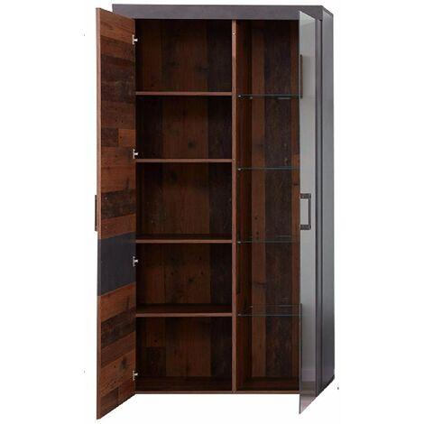 INDY - Meuble de salon/séjour . Meuble vitrine en mélaminé coloris bois effet vieilli avec une finition gris ciment. L - H - P: 87 - 189 - 34 cm. - gris/bois