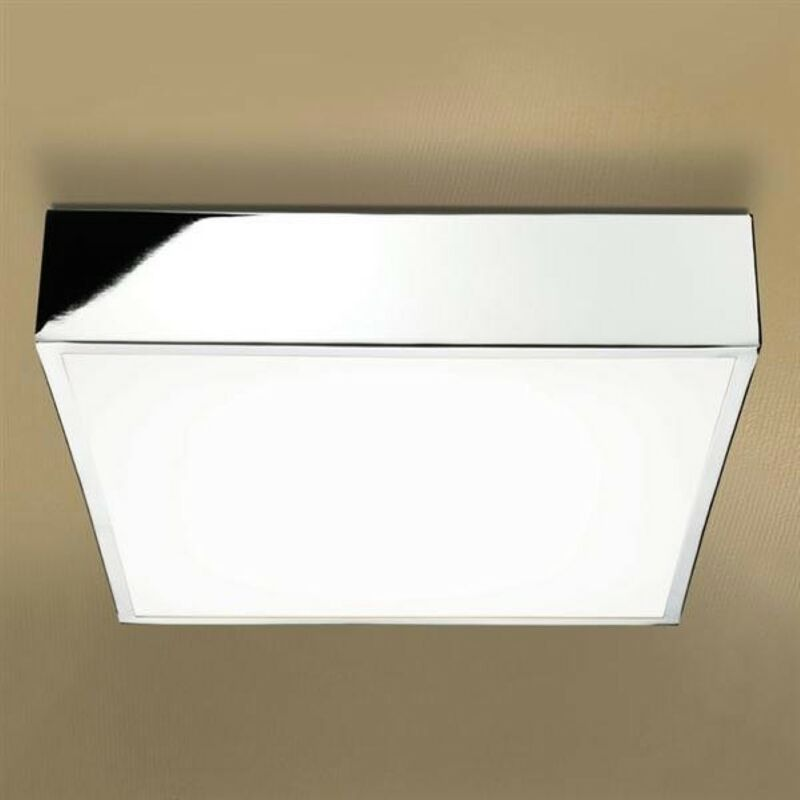 Image of Inertia LED Illuminated Square Ceiling Light with Chrome Detail & Diffused Shade