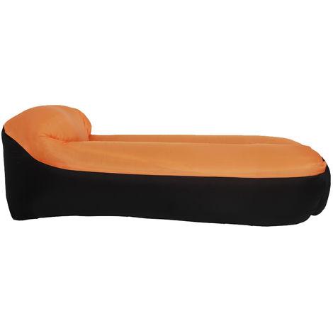 Inflable portable Sofa Sofa Camas almohada para dormir para acampar al aire libre Viajar, Naranja
