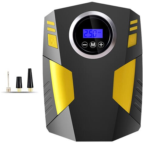 Inflador de neumaticos digital KKmoon, bomba de compresor de aire portatil de 12 V CC, con indicador de presion, luz LED de emergencia