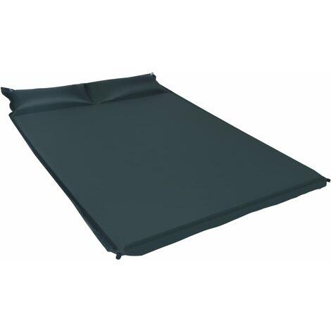 Inflatable Air Mattress with Pillow 130x190 cm Dark Green