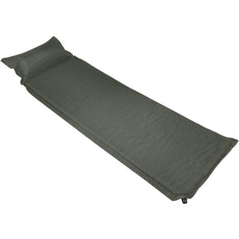 Inflatable Air Mattress with Pillow 66x200 cm Dark Green