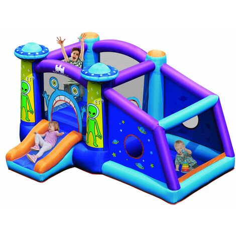 Inflatable Bounce House Kids Cartoon Castle Jumping Bouncer w/ Water Slide & Bag
