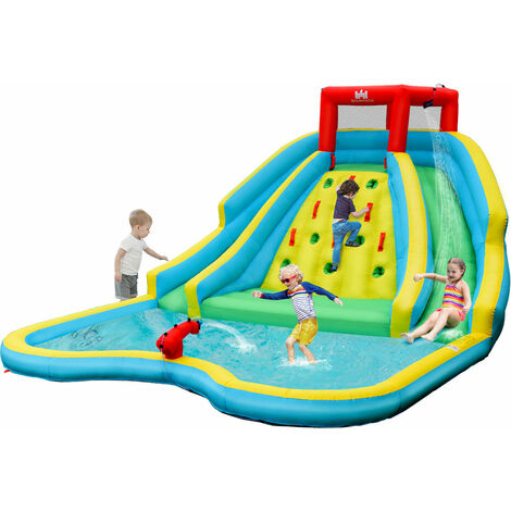 """main image of """"Inflatable Bouncy Castle Water Park Double Water Slide Outdoor Blow Up Bouncer"""""""