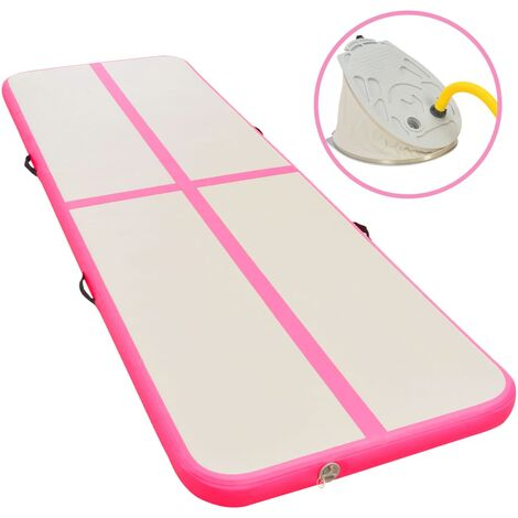 Inflatable Gymnastics Mat with Pump 300x100x10 cm PVC Pink