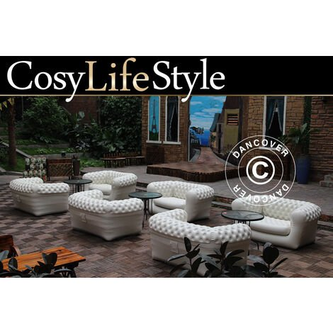 """main image of """"Inflatable sofa, Chesterfield style, 2-seater, Off-White"""""""