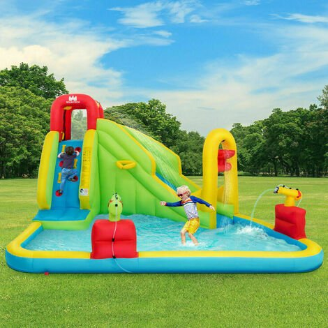 """main image of """"Inflatable Water Bounce Castle Kids Jump & Slide Bouncer Playhouse W/ Basketball"""""""