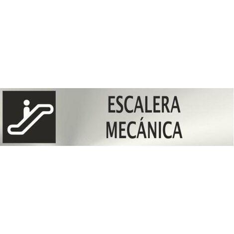 Informativa Escalera Mecánica Acero Inox. Adhesivo de 0,8mm 50 x 200mm