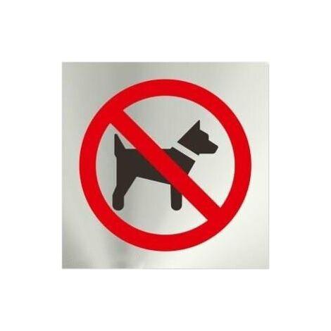 Informativa Prohibido Perros Acero Inoxi. Adesivo de 0,8mm 120x120mm